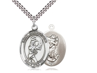 "Sterling Silver St. Christopher/Softball Pendant, Stainless Silver Heavy Curb Chain, Large Size Catholic Medal, 1"" x 3/4"""