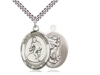 "Sterling Silver St. Christopher/Wrestling Pendant, Stainless Silver Heavy Curb Chain, Large Size Catholic Medal, 1"" x 3/4"""