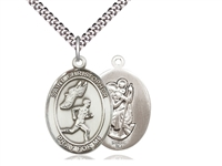 "Sterling Silver St. Christopher/Track&Field Men Pe, Stainless Silver Heavy Curb Chain, Large Size Catholic Medal, 1"" x 3/4"""