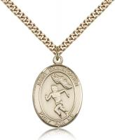 "Gold Filled St. Christopher/Track&Field Pendant, SG Heavy Curb Chain, Large Size Catholic Medal, 1"" x 3/4"""