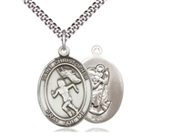 "Sterling Silver St. Christopher/Track&Field Women , Stainless Silver Heavy Curb Chain, Large Size Catholic Medal, 1"" x 3/4"""