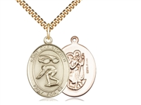 "Gold Filled St. Christopher/Swimming Pendant, SG Heavy Curb Chain, Large Size Catholic Medal, 1"" x 3/4"""