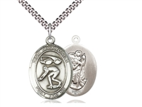 "Sterling Silver St. Christopher/Swimming Pendant, Stainless Silver Heavy Curb Chain, Large Size Catholic Medal, 1"" x 3/4"""