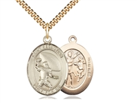 "Gold Filled St. Sebastian / Football Pendant, SG Heavy Curb Chain, Large Size Catholic Medal, 1"" x 3/4"""
