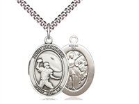 "Sterling Silver St. Sebastian / Football Pendant, SN Heavy Curb Chain, Large Size Catholic Medal, 1"" x 3/4"""
