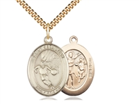 "Gold Filled St. Sebastian / Basketball Pendant, SG Heavy Curb Chain, Large Size Catholic Medal, 1"" x 3/4"""