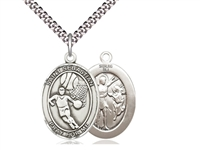 "Sterling Silver St. Sebastian / Basketball Pendant, SN Heavy Curb Chain, Large Size Catholic Medal, 1"" x 3/4"""