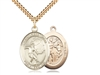 "Gold Filled St. Sebastian / Soccer Pendant, SG Heavy Curb Chain, Large Size Catholic Medal, 1"" x 3/4"""