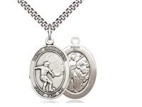 "Sterling Silver St. Sebastian / Soccer Pendant, SN Heavy Curb Chain, Large Size Catholic Medal, 1"" x 3/4"""