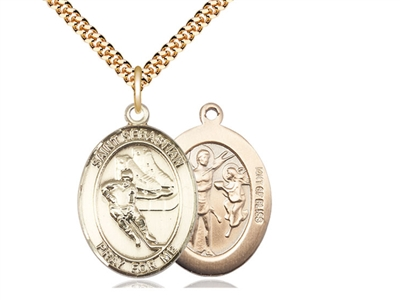 "Gold Filled St. Sebastian / Hockey Pendant, SG Heavy Curb Chain, Large Size Catholic Medal, 1"" x 3/4"""