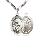"Sterling Silver St. Sebastian / Tennis Pendant, SN Heavy Curb Chain, Large Size Catholic Medal, 1"" x 3/4"""