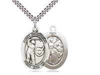 "Sterling Silver St. Sebastian / Golf Pendant, SN Heavy Curb Chain, Large Size Catholic Medal, 1"" x 3/4"""