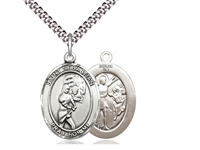 "Sterling Silver St. Sebastian / Softball Pendant, SN Heavy Curb Chain, Large Size Catholic Medal, 1"" x 3/4"""