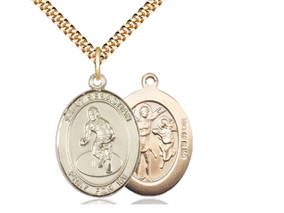 "Gold Filled St. Sebastian / Wrestling Pendant, SG Heavy Curb Chain, Large Size Catholic Medal, 1"" x 3/4"""