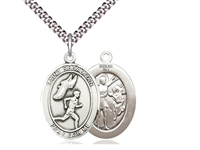"Sterling Silver St. Sebastian / Track & Field Pend, SN Heavy Curb Chain, Large Size Catholic Medal, 1"" x 3/4"""