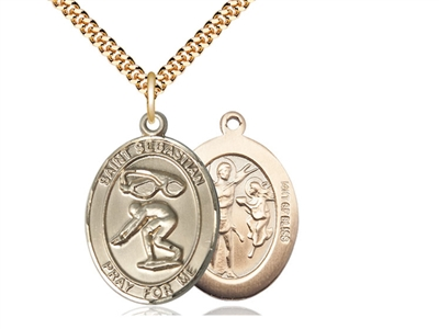 "Gold Filled St. Sebastian / Swimming Pendant, SG Heavy Curb Chain, Large Size Catholic Medal, 1"" x 3/4"""