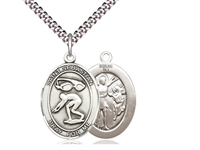 "Sterling Silver St. Sebastian / Swimming Pendant, SN Heavy Curb Chain, Large Size Catholic Medal, 1"" x 3/4"""