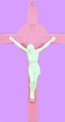 6 inch Pink Wall or Standing Sunburst Crucifix 763PW-R