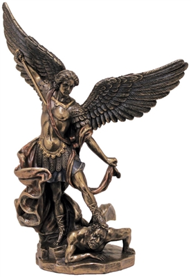 St. Michael Statue lightly hand-painted cold cast bronze 8inch