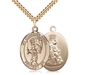"Gold Filled Guardian Angel/Baseball Pendant, SG Heavy Curb Chain, Large Size Catholic Medal, 1"" x 3/4"""