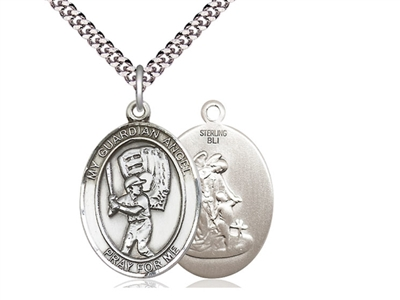 "Sterling Silver Guardian Angel/Baseball Pendant, SN Heavy Curb Chain, Large Size Catholic Medal, 1"" x 3/4"""