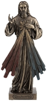 Divine Mercy Lightly Hand-Painted Cold Cast Bronze 8inch