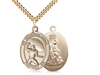 "Gold Filled Guardian Angel/Football Pendant, SG Heavy Curb Chain, Large Size Catholic Medal, 1"" x 3/4"""