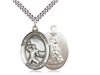 "Sterling Silver Guardian Angel/Football Pendant, SN Heavy Curb Chain, Large Size Catholic Medal, 1"" x 3/4"""