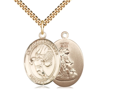"Gold Filled Guardian Angel/Basketball Pendant, SG Heavy Curb Chain, Large Size Catholic Medal, 1"" x 3/4"""
