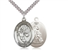 "Sterling Silver Guardian Angel/Basketball Pendant, SN Heavy Curb Chain, Large Size Catholic Medal, 1"" x 3/4"""
