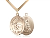 "Gold Filled Guardian Angel/Soccer Pendant, SG Heavy Curb Chain, Large Size Catholic Medal, 1"" x 3/4"""