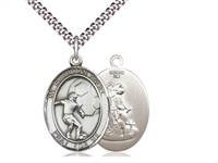 "Sterling Silver Guardian Angel/Soccer Pendant, SN Heavy Curb Chain, Large Size Catholic Medal, 1"" x 3/4"""