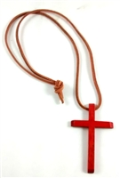 Wood Cross on Leather Cord
