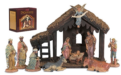 12-Pc Wood Stable Nativity Set  18023