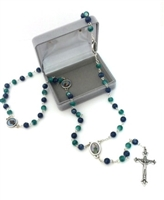 Saint Rosary with Green and Blue Glass Beads GC646
