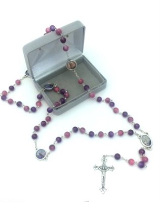 Saint Rosary with Pink and Purple Glass Beads GC647