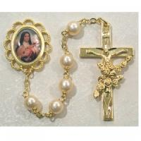 Saint Therese the Little Flower Pearl Bead Gold Rosary