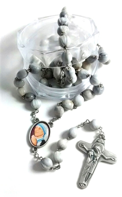 Mother Teresa Job's Tears Rosary with Mother Teresa Center-Piece R394
