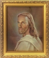 Gold Frame Standing/Wall Head of Christ Print 79-004