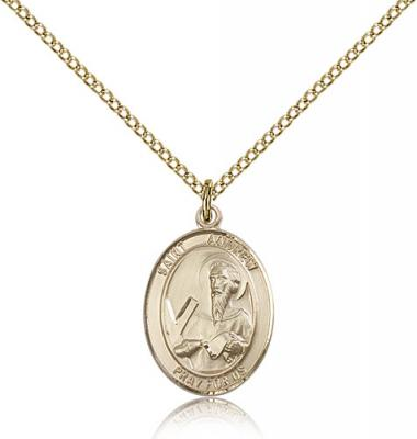 "Gold Filled St. Andrew the Apostle Pendant, Gold Filled Lite Curb Chain, Medium Size Catholic Medal, 3/4"" x 1/2"""