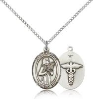 "Sterling Silver St. Agatha / Nurse Pendant, Sterling Silver Lite Curb Chain, Medium Size Catholic Medal, 3/4"" x 1/2"""