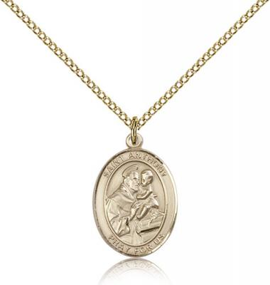 "Gold Filled St. Anthony of Padua Pendant, Gold Filled Lite Curb Chain, Medium Size Catholic Medal, 3/4"" x 1/2"""