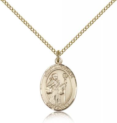 "Gold Filled St. Augustine Pendant, Gold Filled Lite Curb Chain, Medium Size Catholic Medal, 3/4"" x 1/2"""