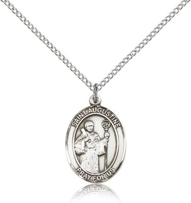 "Sterling Silver St. Augustine Pendant, Sterling Silver Lite Curb Chain, Medium Size Catholic Medal, 3/4"" x 1/2"""