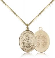 "Gold Filled St. Benedict Pendant, Gold Filled Lite Curb Chain, Medium Size Catholic Medal, 3/4"" x 1/2"""
