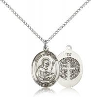 "Sterling Silver St. Benedict Pendant, Sterling Silver Lite Curb Chain, Medium Size Catholic Medal, 3/4"" x 1/2"""