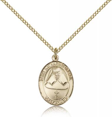 "Gold Filled St. Katharine Drexel Pendant, Gold Filled Lite Curb Chain, Medium Size Catholic Medal, 3/4"" x 1/2"""