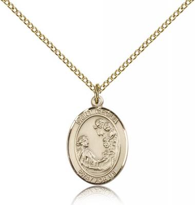 "Gold Filled St. Cecilia Pendant, Gold Filled Lite Curb Chain, Medium Size Catholic Medal, 3/4"" x 1/2"""