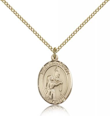 "Gold Filled St. Bernadette Pendant, Gold Filled Lite Curb Chain, Medium Size Catholic Medal, 3/4"" x 1/2"""