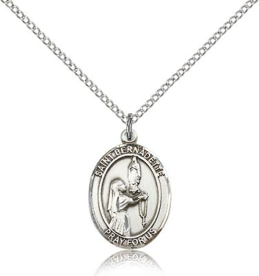 "Sterling Silver St. Bernadette Pendant, Sterling Silver Lite Curb Chain, Medium Size Catholic Medal, 3/4"" x 1/2"""